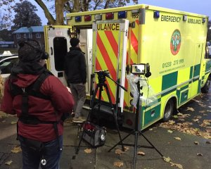 Filming in the back of an Ambulance